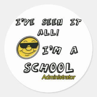 Administrador de escuela pegatina redonda