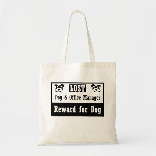 Administrador de oficinas del perro perdido bolsas lienzo