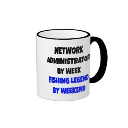 Administrador de red de la leyenda de la pesca taza de dos colores