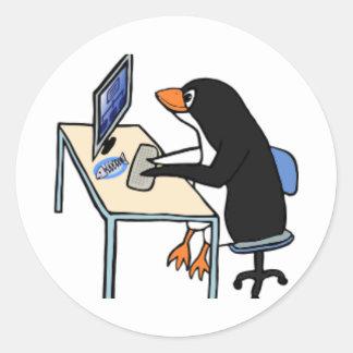 administrador de sistema del tux del pingüino pegatina redonda