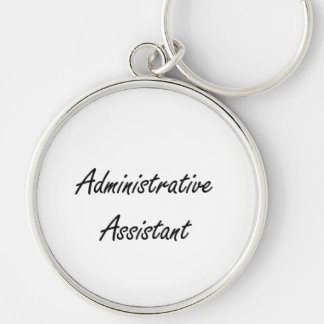 Administrative Assistant Artistic Job Design Silver-Colored Round Keychain