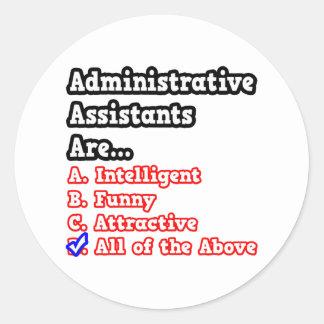 Administrative Assistant Quiz...Joke Round Sticker