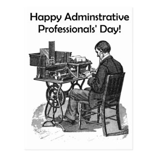 Administrative Professional Day Male Typist Drawin Postcard