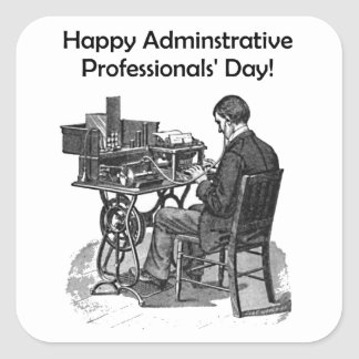 Administrative Professional Day Male Typist Drawin Square Sticker