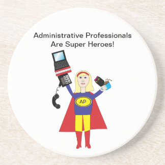 Administrative Professional Super Hero (Blonde) Sandstone Coaster