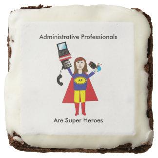 Administrative Professional Super Hero (Brunette) Chocolate Brownie