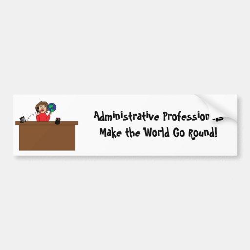 Administrative Professional World (Brunette) Bumpe Car Bumper Sticker