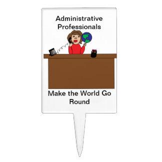 Administrative Professional World (Brunette) Cake Topper