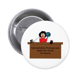 Administrative Professional World (Dark Hair) Button