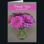 """Administrative Professionals Day Card Zinnias<br><div class=""""desc"""">This pretty Administrative Professionals Day card makes the perfect way to say thank you for everything you do to your administrative professional.  A beautiful bouquet of zinnia flowers appears on the outside and a lovely thank you verse appears on the inside.  Copyright Kathy Henis</div>"""