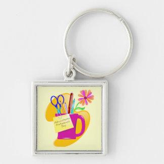 Administrative Professionals Day Design Silver-Colored Square Keychain