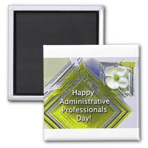 Administrative Professionals Day White Floral 2 Inch Square Magnet