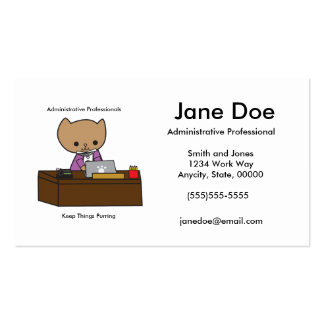 Administrative Professionals Keep Things Purring Double-Sided Standard Business Cards (Pack Of 100)