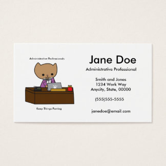 Administrative Professionals Keep Things Purring Business Card