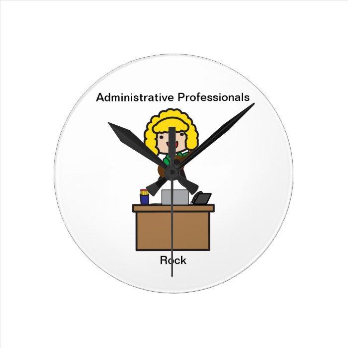 Administrative Professionals Rock (Blonde) Round Clock