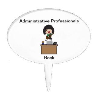 Administrative Professionals Rock (Dark Hair) Cake Topper