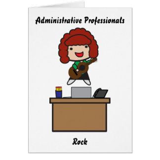 Administrative Professionals Rock (red hair) Greeting Cards