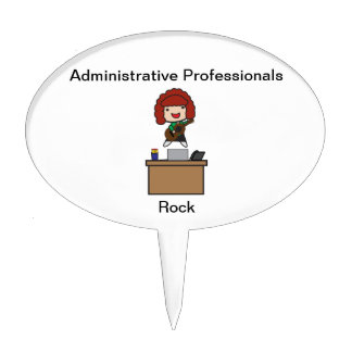 Administrative Professionals Rock (Red Haired) Cake Topper