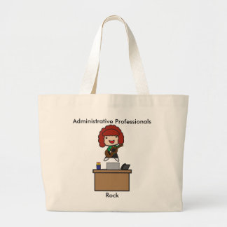 Administrative Professionals Rock (Red Haired) Large Tote Bag