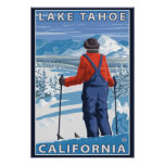 Admiración del esquiador - el lago Tahoe, Californ Poster