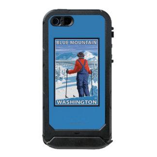 Admiración del esquiador - montaña azul, carcasa de iphone 5 incipio atlas id