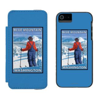 Admiración del esquiador - montaña azul, funda billetera para iPhone 5 watson