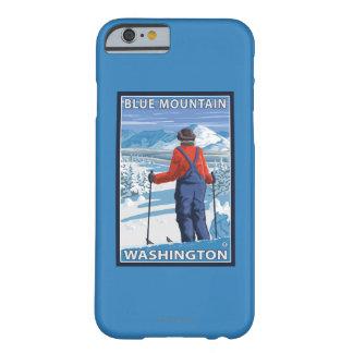 Admiración del esquiador - montaña azul, funda para iPhone 6 barely there