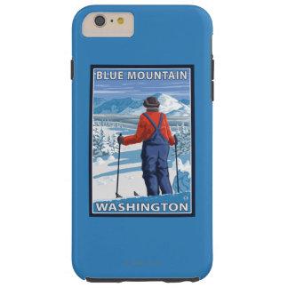 Admiración del esquiador - montaña azul, funda para iPhone 6 plus tough