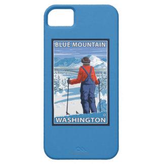 Admiración del esquiador - montaña azul, iPhone 5 carcasa
