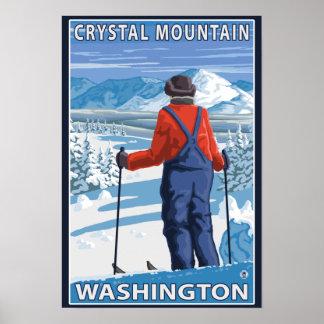 Admiración del esquiador - montaña cristalina, Was Póster