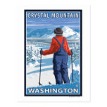 Admiración del esquiador - montaña cristalina, Was Postales