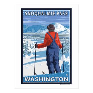 Admiración del esquiador - paso de Snoqualmie, Tarjeta Postal