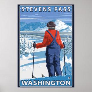 Admiración del esquiador - paso de Stevens Washin Impresiones