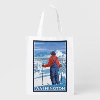 Admiración del esquiador - Washington Bolsas Reutilizables