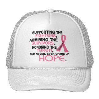 Admiración favorable honrando al cáncer de pecho 3 gorro de camionero