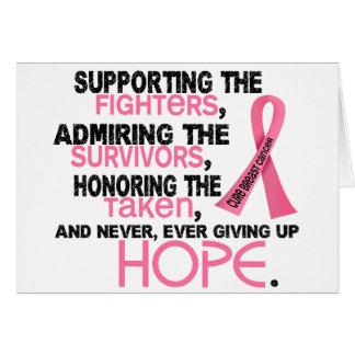 Admiración favorable honrando al cáncer de pecho 3 tarjeta de felicitación