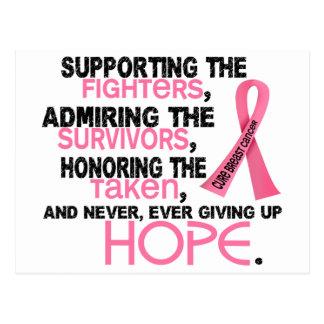 Admiración favorable honrando al cáncer de pecho tarjeta postal