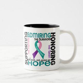 Admiración favorable honrando al cáncer de tiroide tazas de café