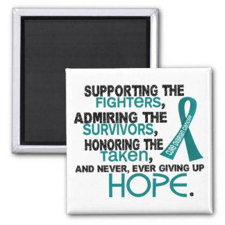 Admiración favorable honrando al cáncer ovárico 3, imán cuadrado