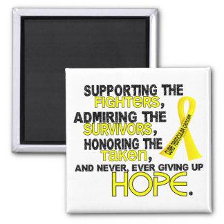 Admiración favorable honrando al cáncer testicular imán cuadrado