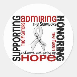 Admiración favorable honrando el cáncer de pulmón pegatina redonda