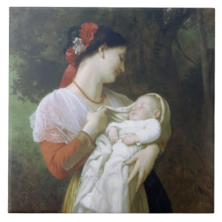 Admiración maternal de Guillermo Adolfo Bouguereau Azulejo Cuadrado Grande