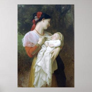 Admiración maternal de Guillermo Adolfo Bouguereau Póster