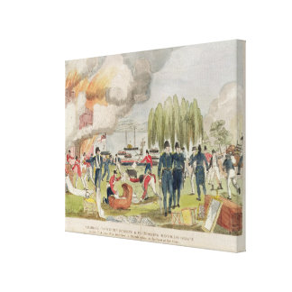 Admiral Cockburn burning and plundering Canvas Print