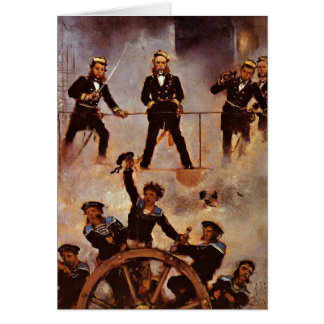 Admiral Tegetthoff In The Battle By Anton Romako Greeting Card