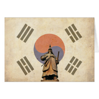 Admiral Yi Soon shin Statue with Chosunese Flag Card