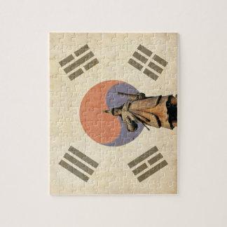 Admiral Yi Soon shin Statue with Chosunese Flag Jigsaw Puzzle