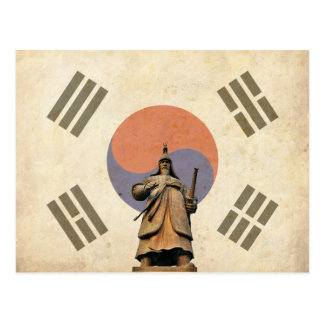 Admiral Yi Soon shin Statue with Chosunese Flag Postcard