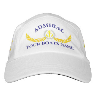 Admirals and boat name anchor motif hat