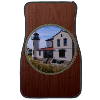 Admiralty Head Lighthouse Rope and Wood border Car Mat